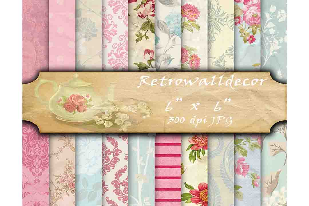 Print on Demand: Floral Digital Papers 6 Graphic Backgrounds By retrowalldecor