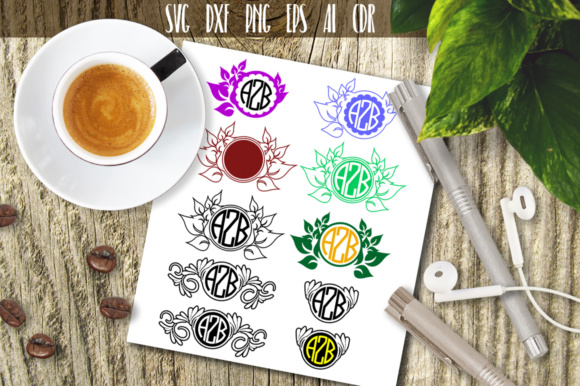 Download Free Floral Monogram Leaves Ornaments Graphic By Vector City Skyline for Cricut Explore, Silhouette and other cutting machines.