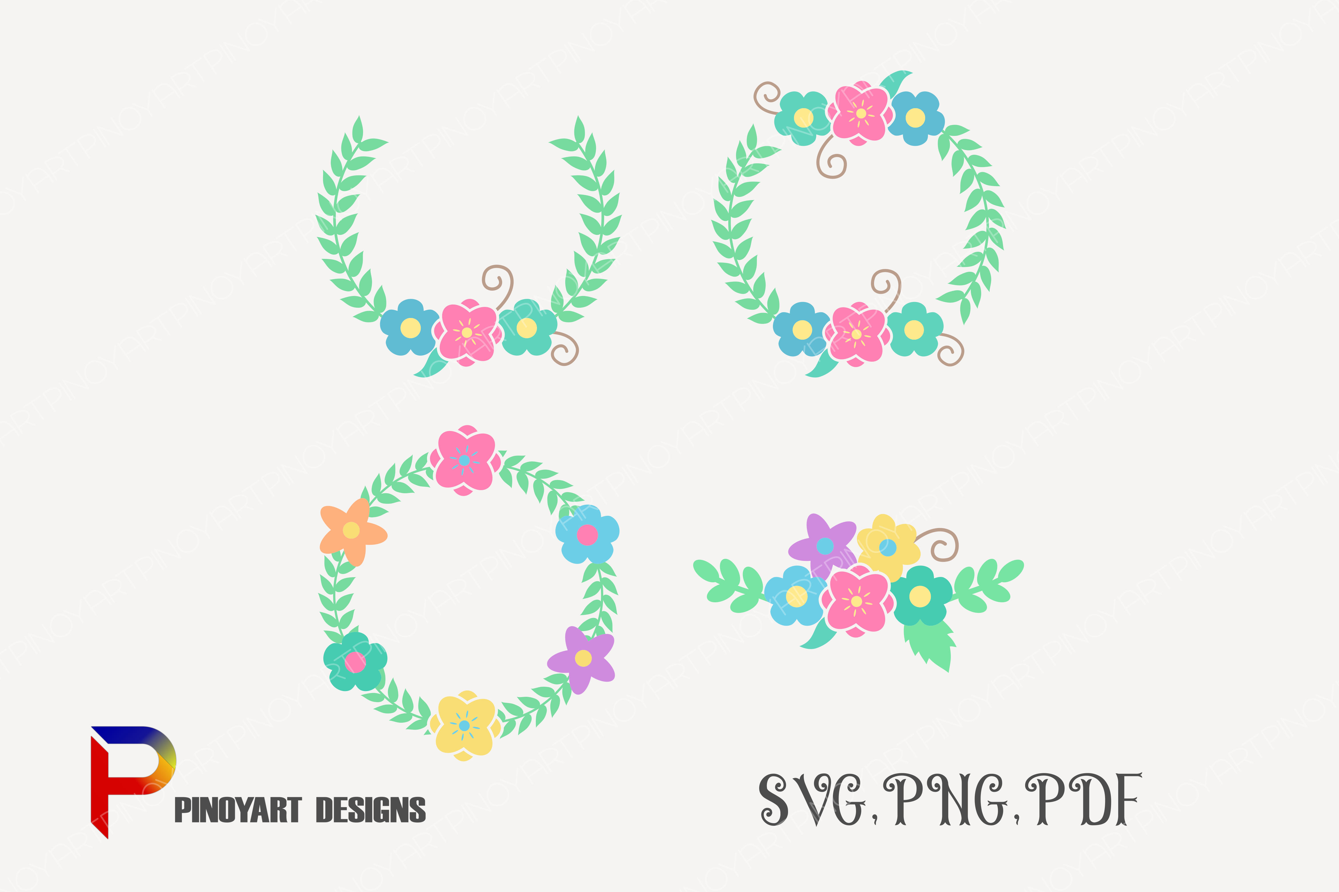 Download Free Flower Wreath Graphic By Pinoyartkreatib Creative Fabrica for Cricut Explore, Silhouette and other cutting machines.
