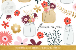 Flowers in Mason Jars Clipart Set - Mason Jars, Vases and Flowers - Golden Accents Graphic By daphnepopuliers