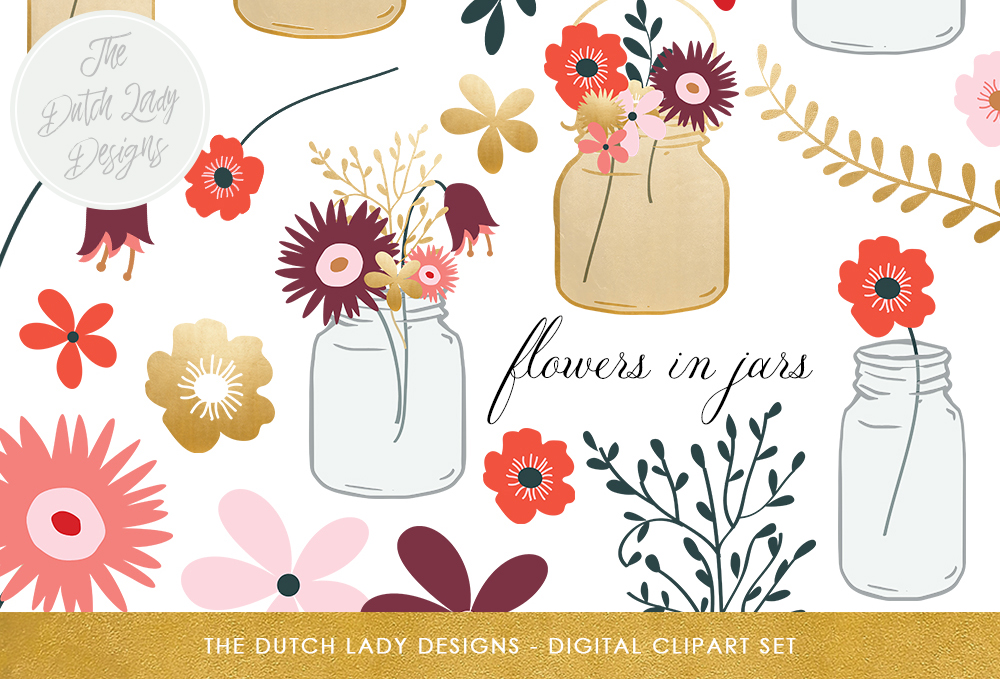 Print on Demand: Flowers in Mason Jars Clipart Set - Mason Jars, Vases and Flowers - Golden Accents Graphic Illustrations By daphnepopuliers