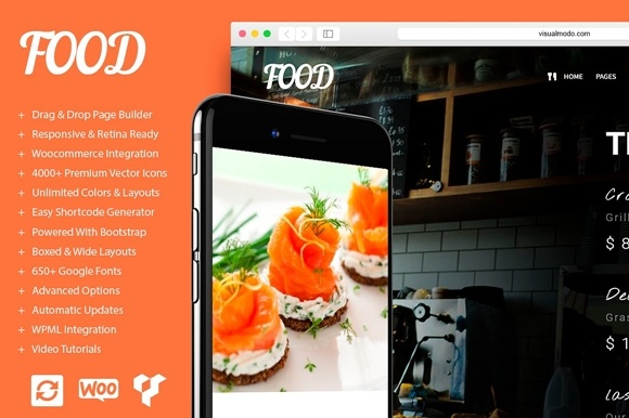 Food Restaurant WordPress Theme Graphic By Visualmodo WordPress Themes