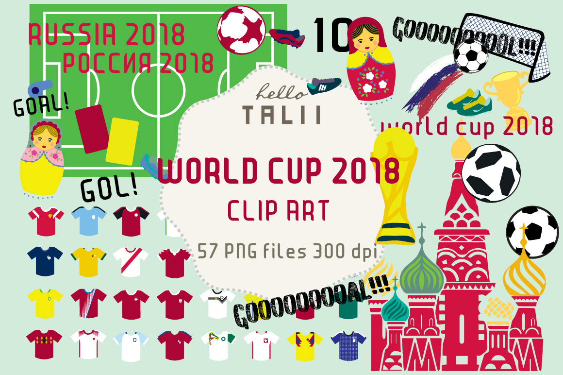 Football WORLD CUP RUSSIA 2018 Clip Art Graphic by Hello ...