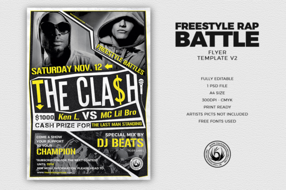 Freestyle Rap Battle Flyer Template Graphic Print Templates By ThatsDesignStore