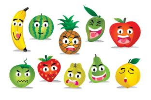 Fresh Fruits Character Expression Graphic By emnazar2009