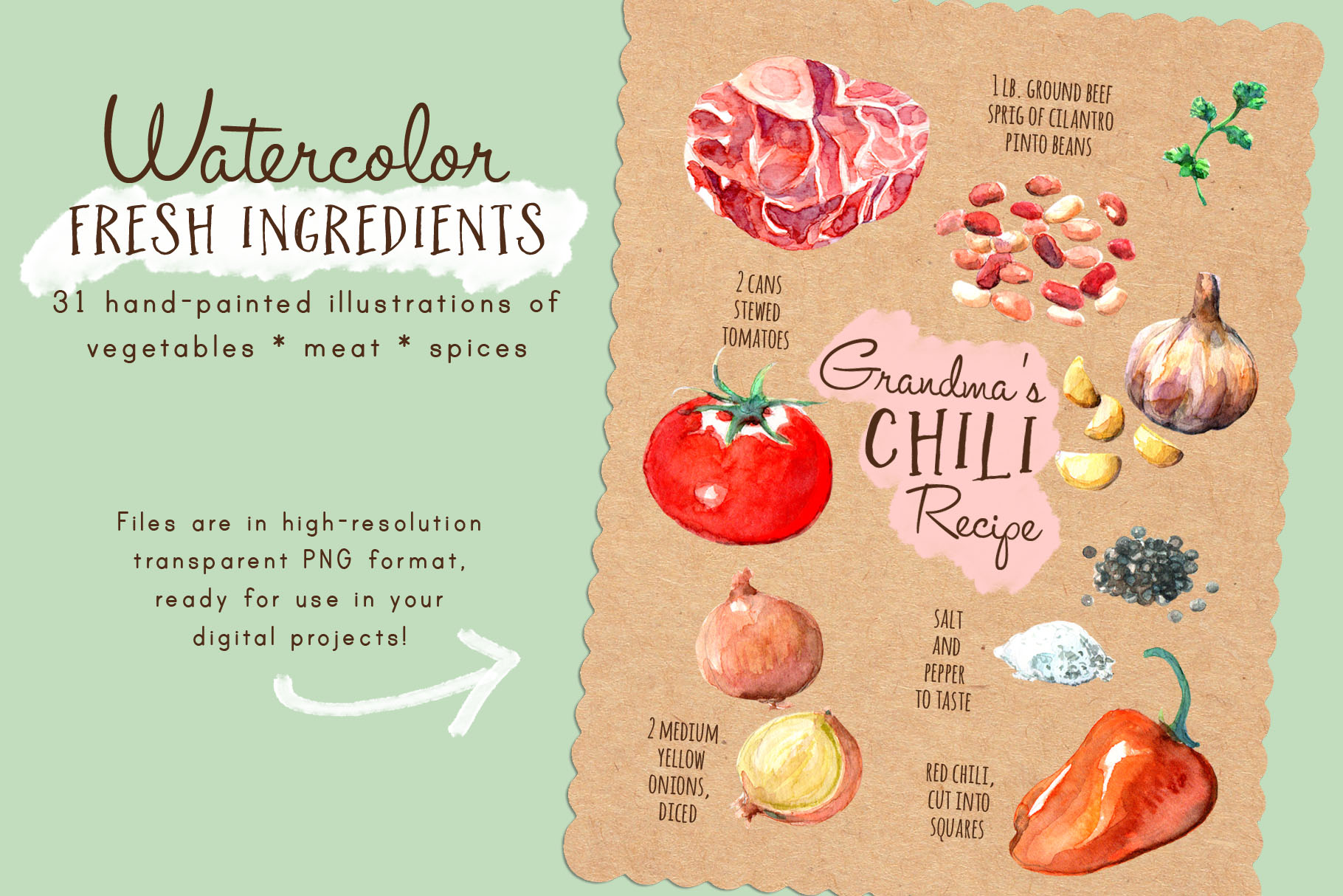 Download Free Fresh Ingredients In Watercolor Clip Art Graphic By Arncyn for Cricut Explore, Silhouette and other cutting machines.