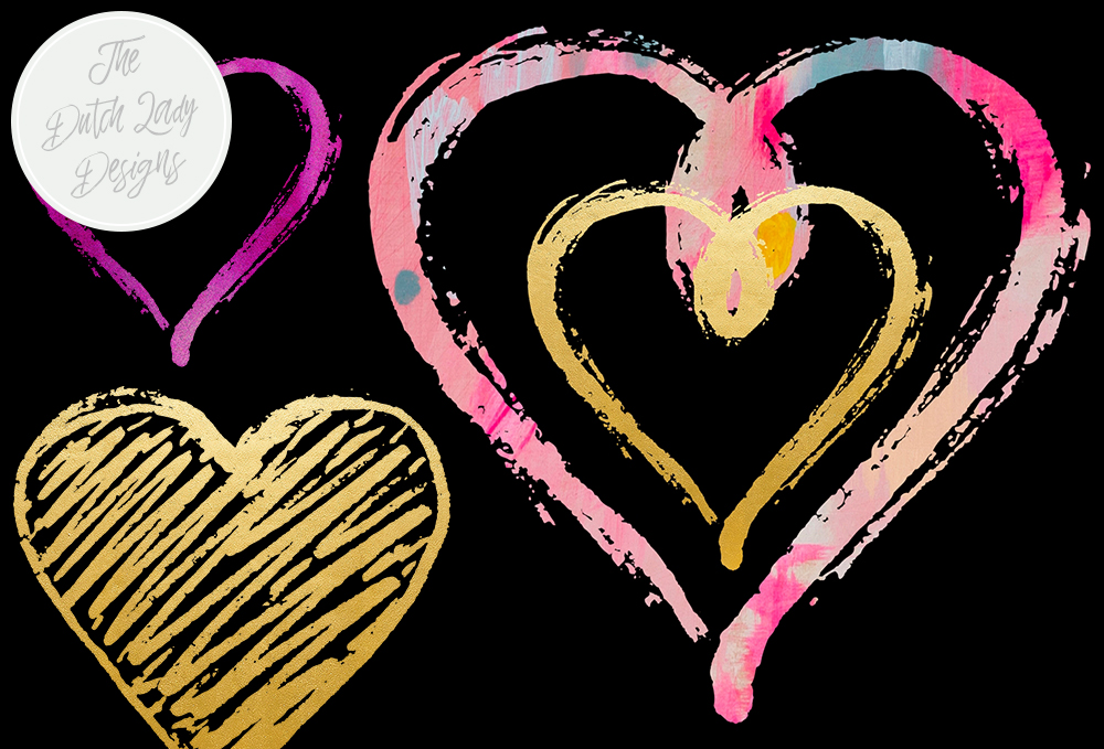 Print on Demand: Funky Valentine Hearts Clipart Set - Sparkle & Paint Graphic Crafts By daphnepopuliers - Image 3