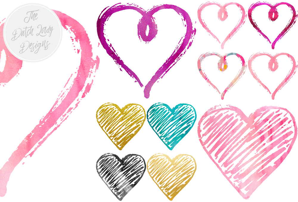 Print on Demand: Funky Valentine Hearts Clipart Set - Sparkle & Paint Graphic Crafts By daphnepopuliers - Image 4