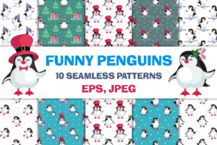 Funny Penguins Christmas Seamless Patterns Graphic By Olga Belova