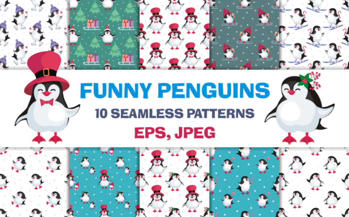 Print on Demand: Funny Penguins Christmas Seamless Patterns Gráfico Moldes Por Olga Belova