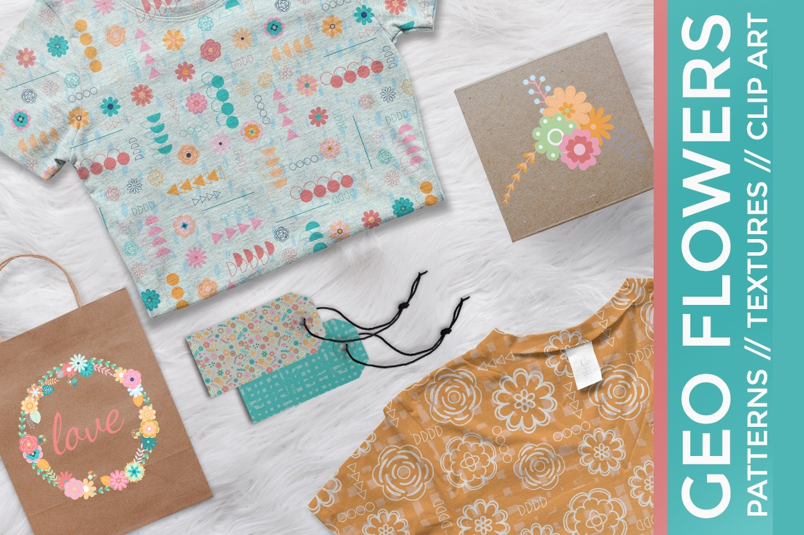 Print on Demand: Geometric Flower Pattern & Clipart Graphic Patterns By illuztrate