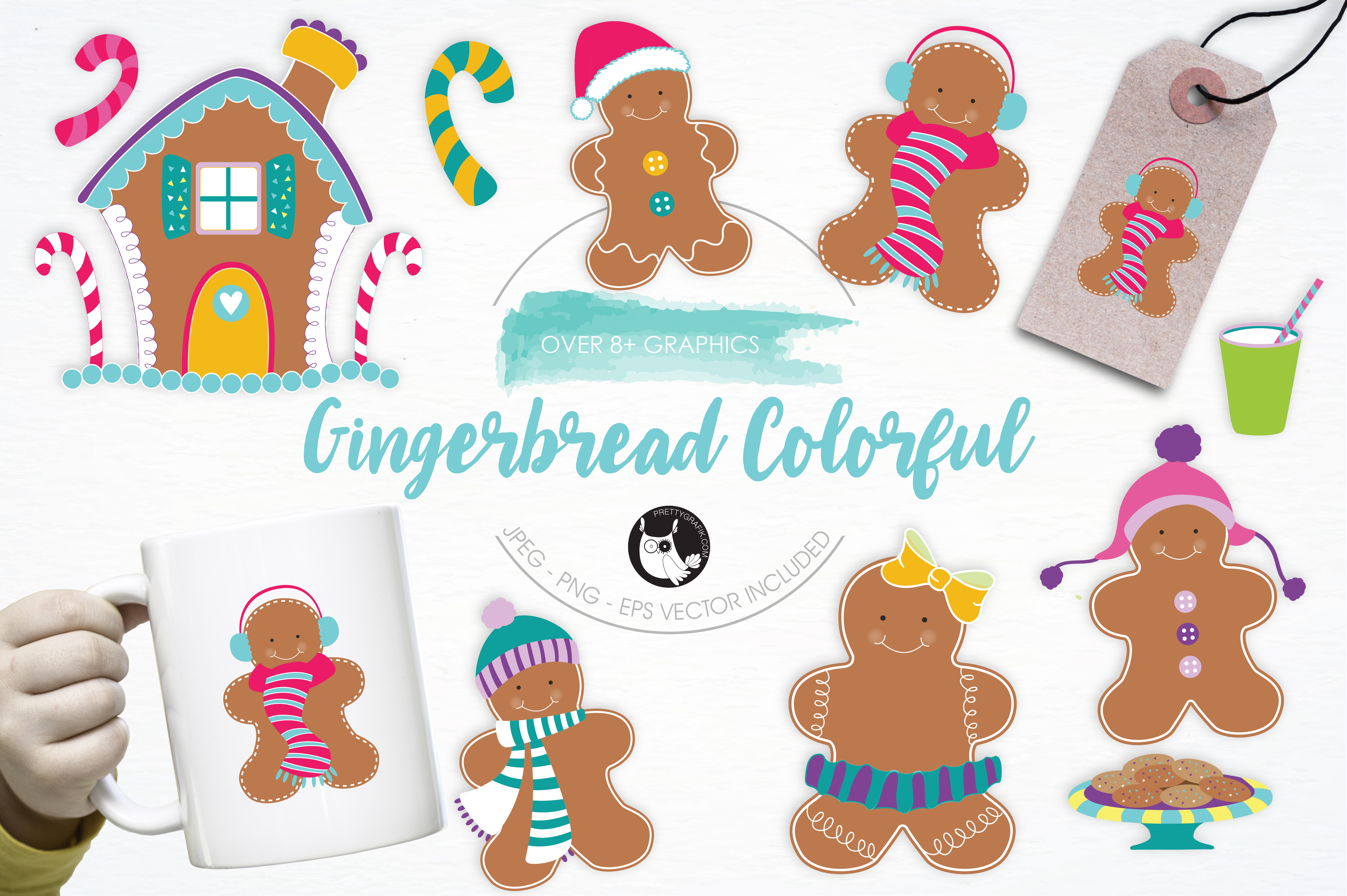 Print on Demand: Gingerbread Colorful Graphic Illustrations By Prettygrafik