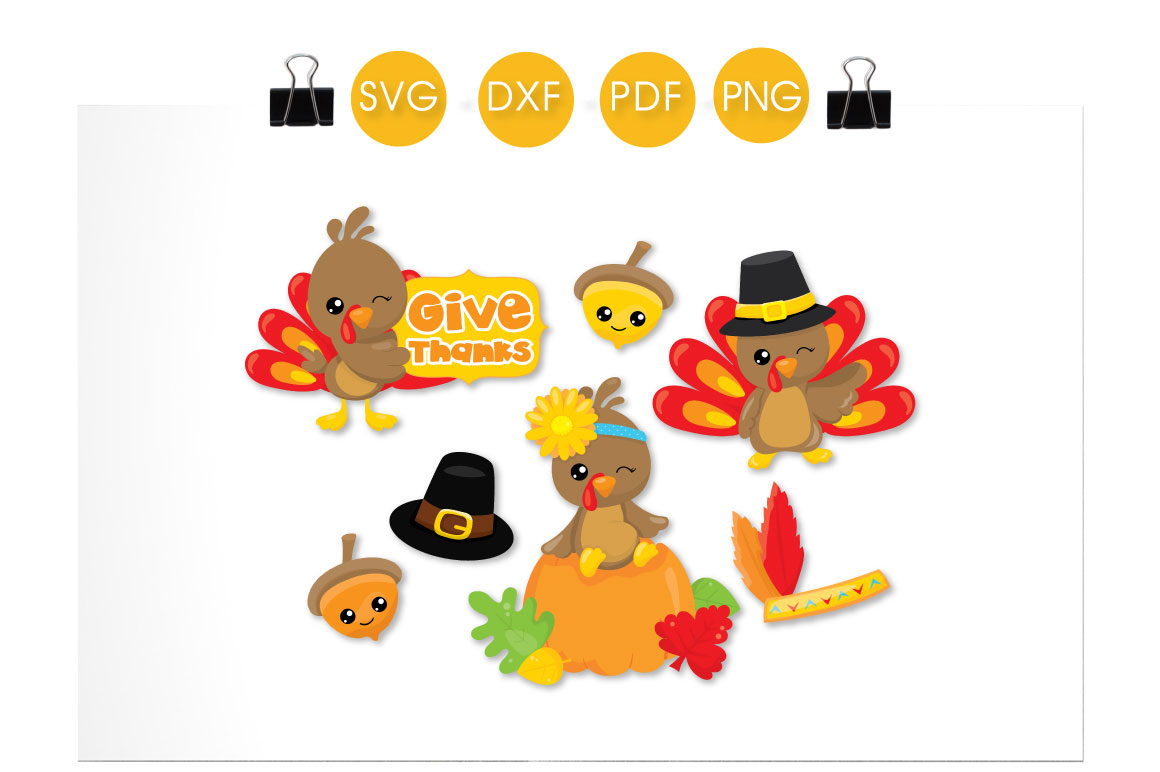 Give Thanks Turkeys Graphic Download