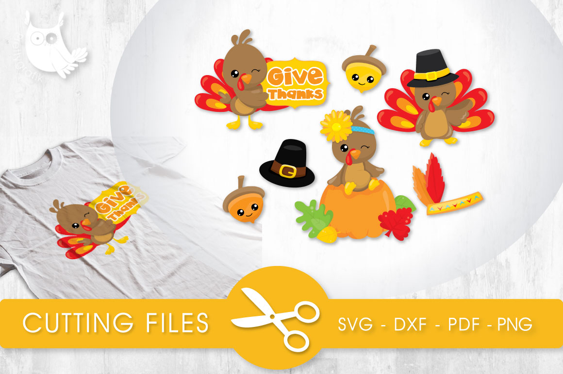 Give Thanks Turkeys Graphic