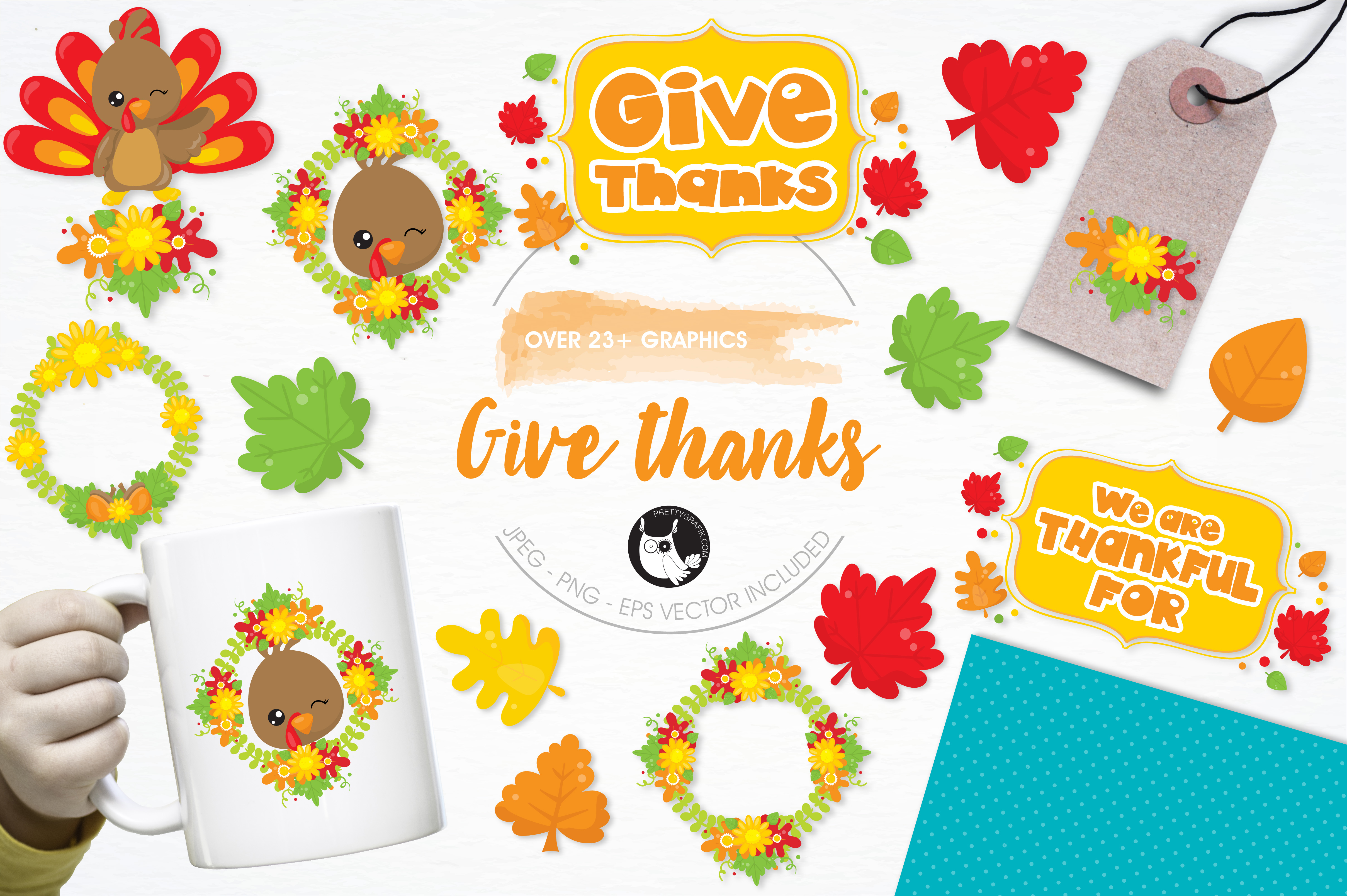 Print on Demand: 23 Give Thanks Graphic Illustrations By Prettygrafik