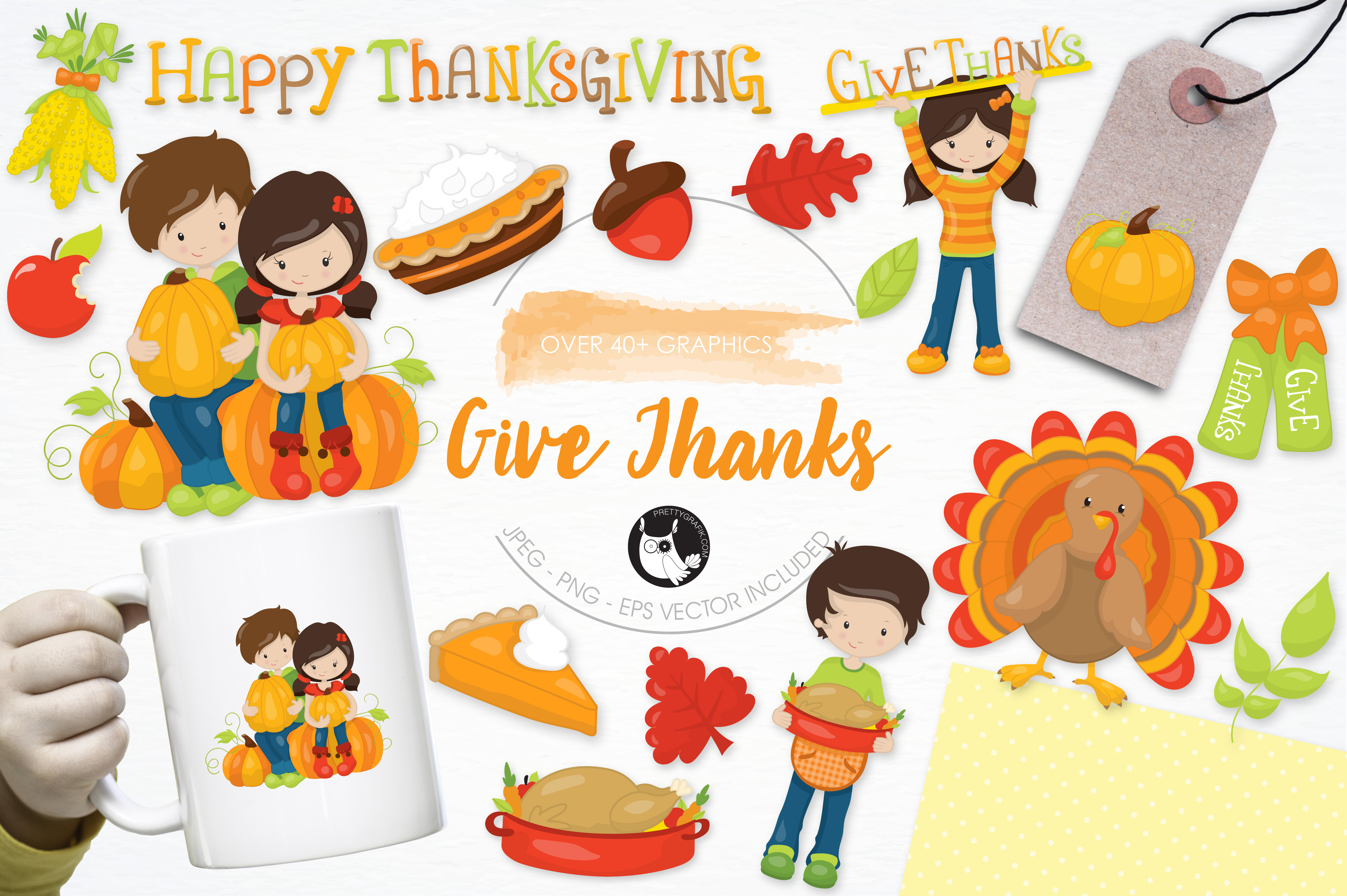 Print on Demand: Give Thanks Graphic Illustrations By Prettygrafik