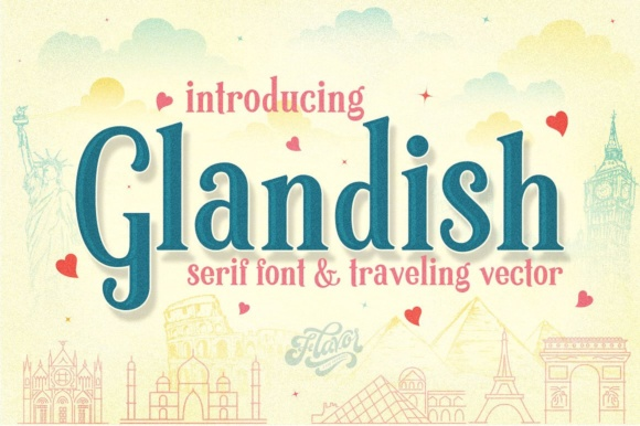 Print on Demand: Glandish Display Schriftarten von flavortype