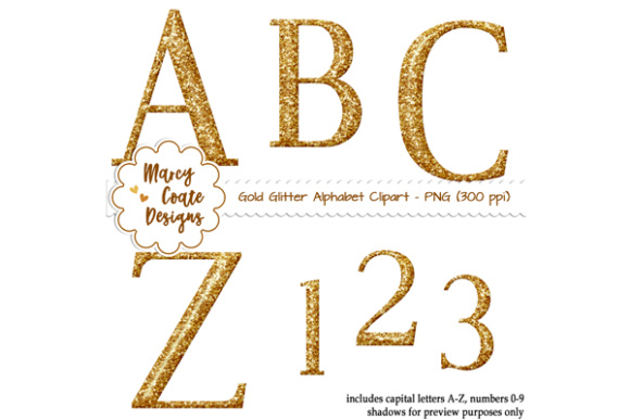 Glitter Alpha Clipart - Gold Graphic Illustrations By MarcyCoateDesigns