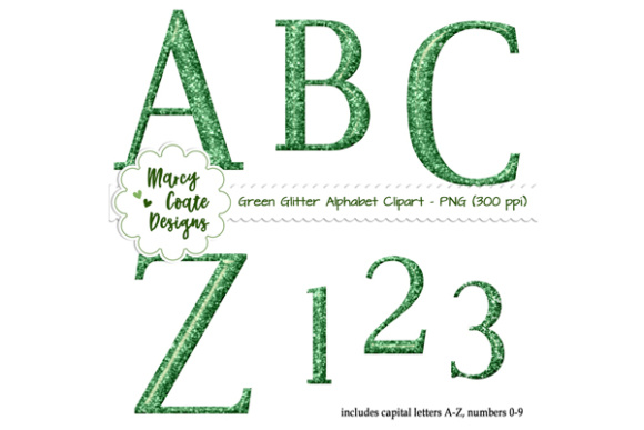 Glitter Alpha Clipart - Green Graphic Illustrations By MarcyCoateDesigns