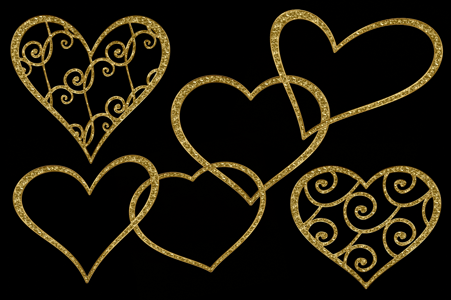 Print on Demand: Glittery Gold Hearts Graphic Objects By JulieCampbellDesigns - Image 2