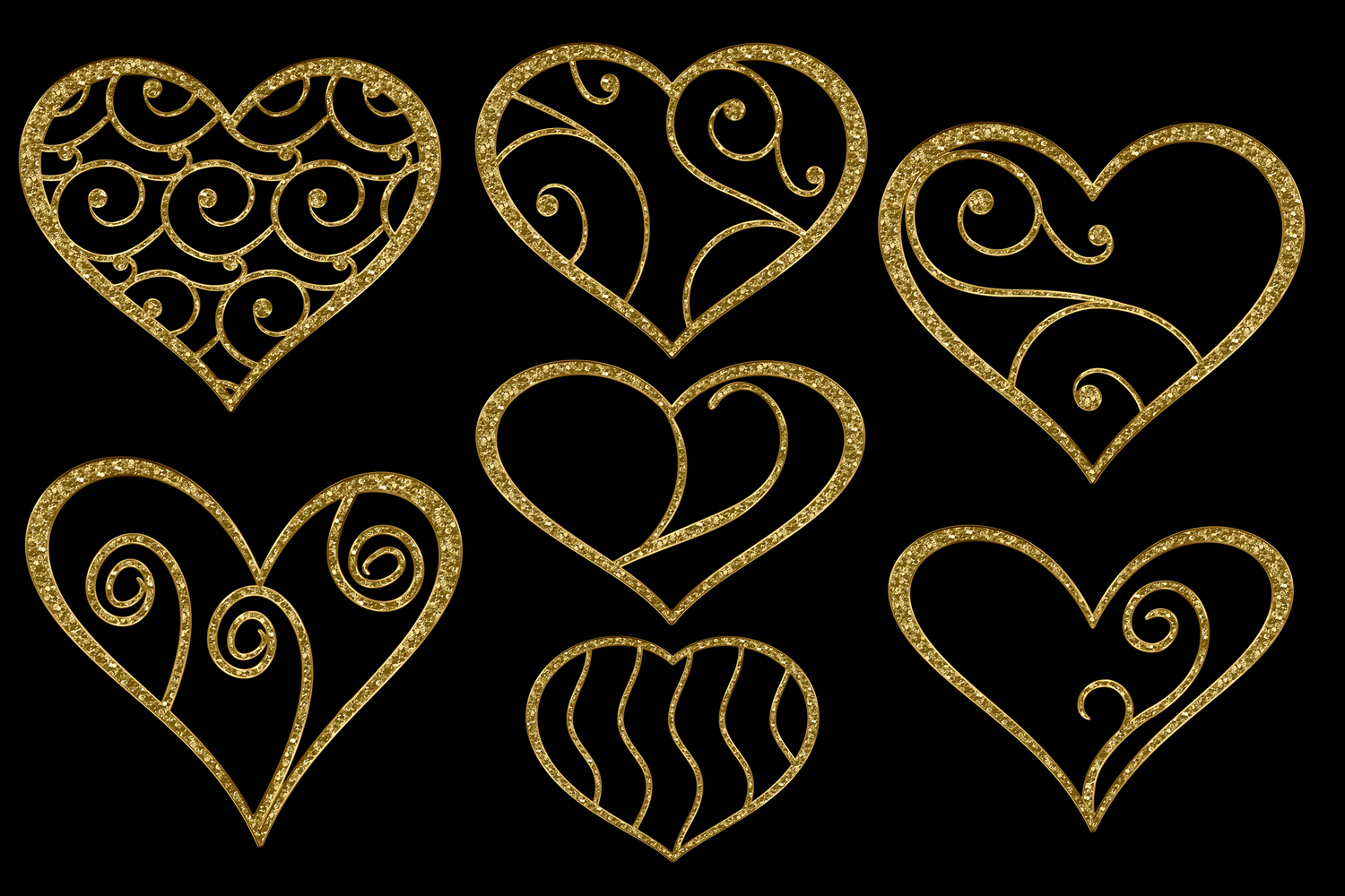 Print on Demand: Glittery Gold Hearts Graphic Objects By JulieCampbellDesigns - Image 3