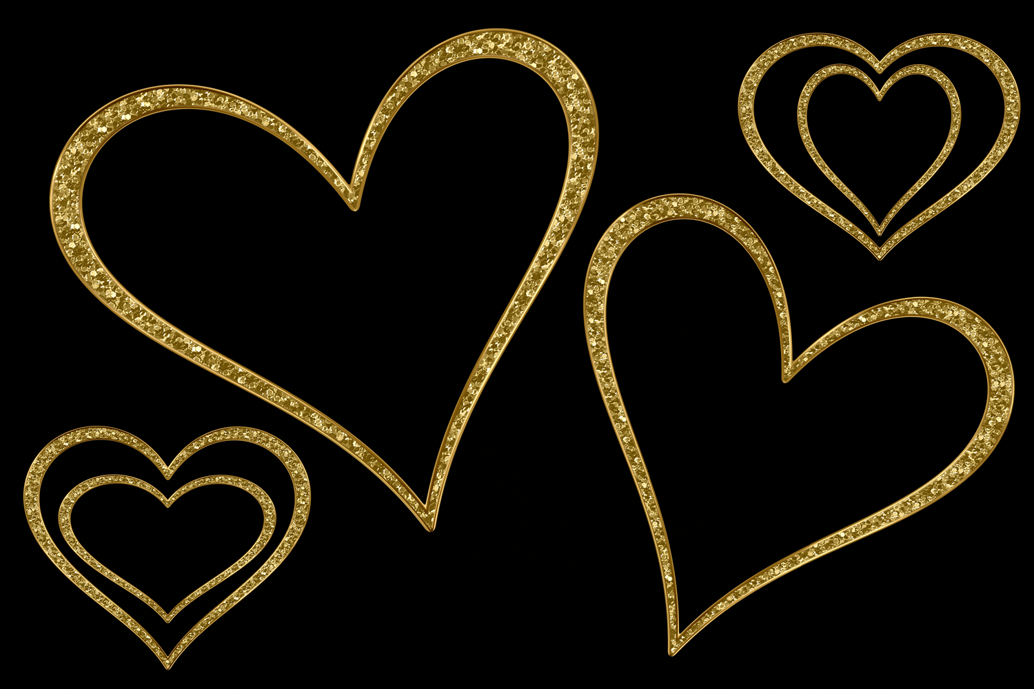 Print on Demand: Glittery Gold Hearts Graphic Objects By JulieCampbellDesigns - Image 4
