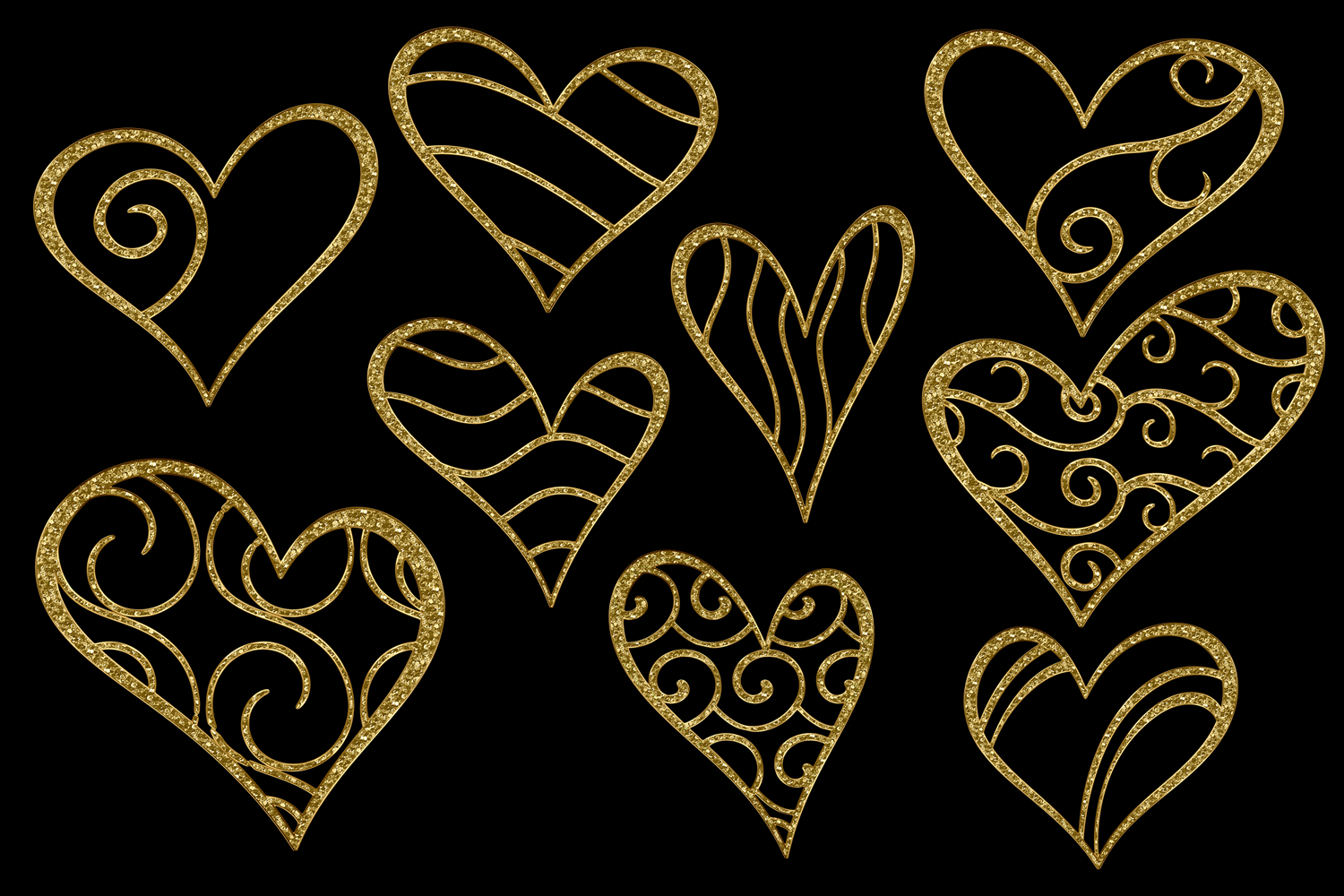 Print on Demand: Glittery Gold Hearts Graphic Objects By JulieCampbellDesigns - Image 6