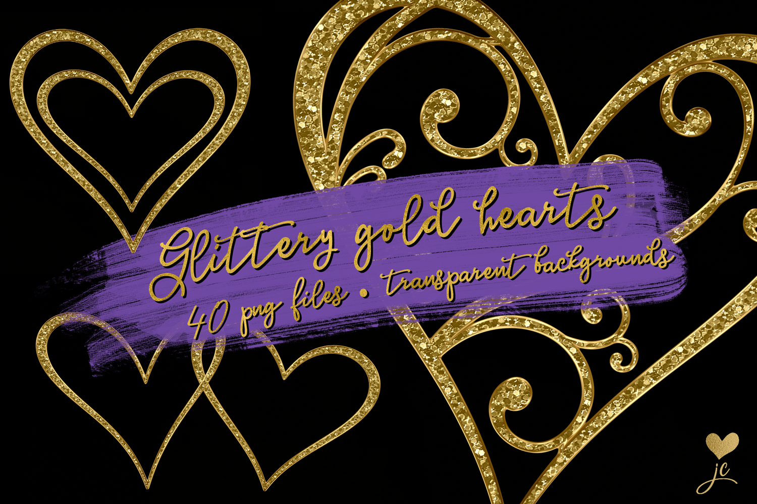 Print on Demand: Glittery Gold Hearts Graphic Objects By JulieCampbellDesigns