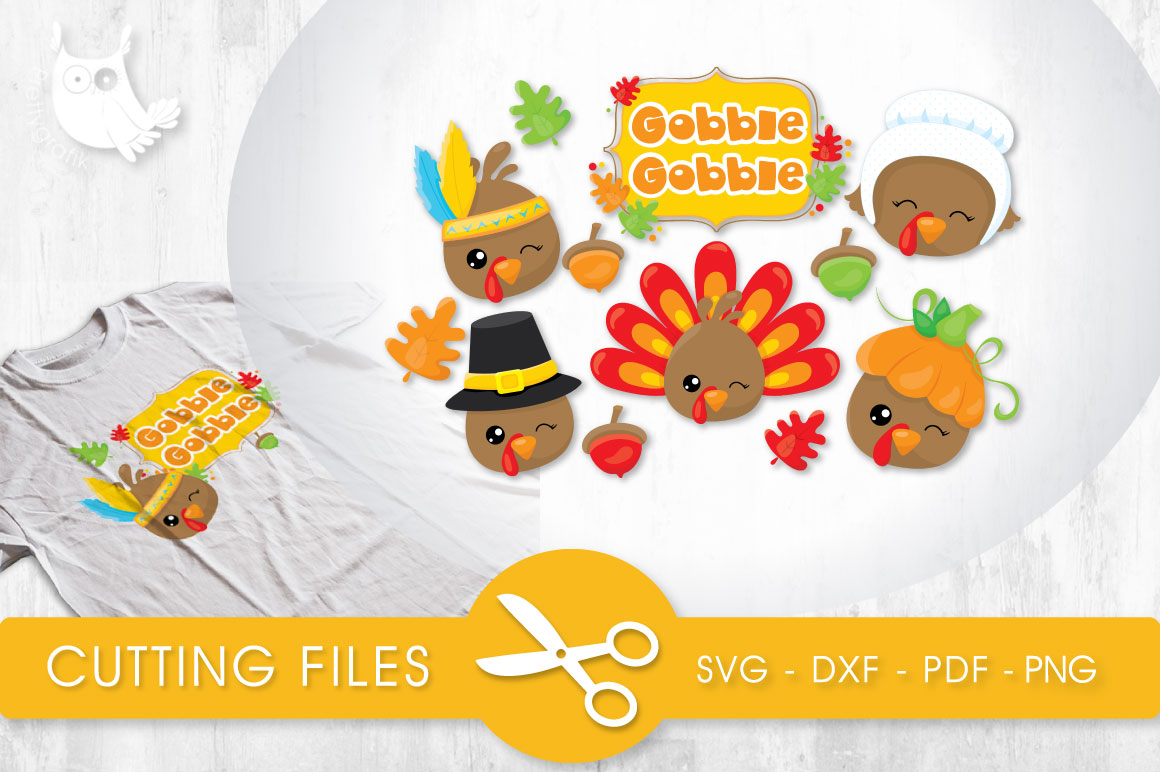 Gobble Gobble Turkies Graphic Crafts By PrettyCuttables