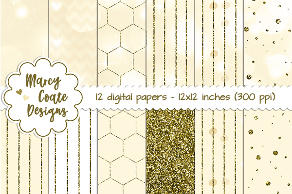 Gold Bokeh & Glitter Patterns Graphic Backgrounds By MarcyCoateDesigns