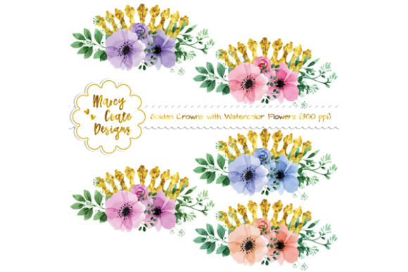 Gold Crowns & Watercolor Flower Clipart Graphic Illustrations By MarcyCoateDesigns