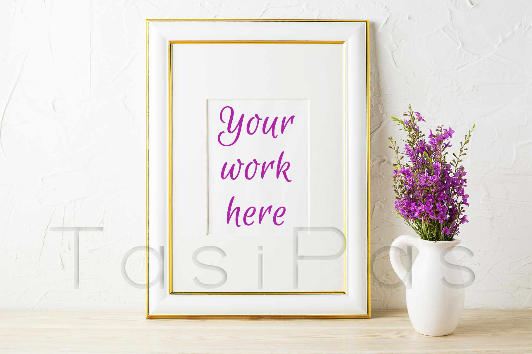 Print on Demand: Gold Decorated Frame Mockup and Purple Wildflowers in Pitcher Graphic Product Mockups By TasiPas