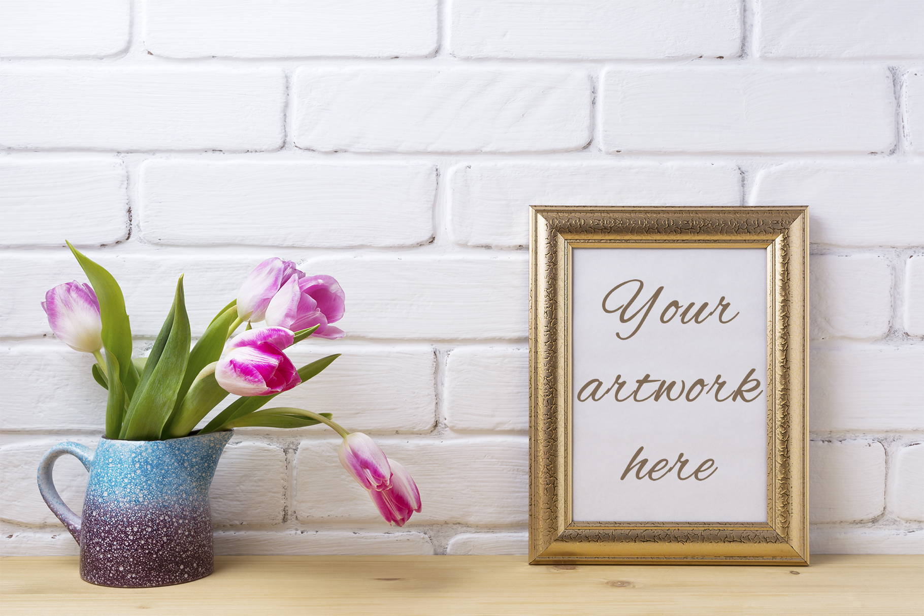 Print on Demand: Gold Decorated Frame Mockup with Magenta Pink Tulips. Graphic Product Mockups By TasiPas