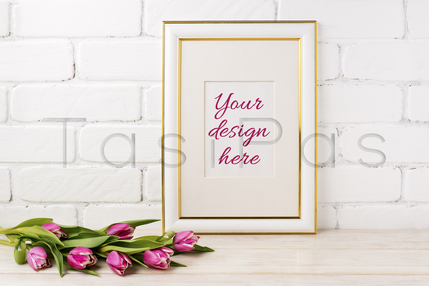 Print on Demand: Gold Decorated Frame Mockup with Magenta Tulips Bouquet Gráfico Mockups de Productos Por TasiPas