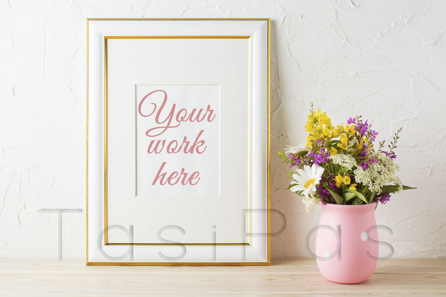Print on Demand: Gold Decorated Frame Mockup with Wildflowers in Pink Vase Graphic Product Mockups By TasiPas