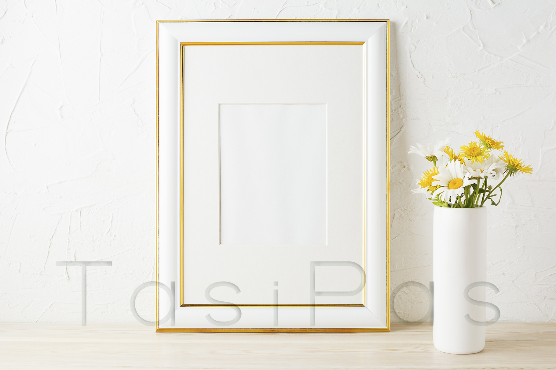 Download Free Gold Decorated Frame Mockup With Yellow And White Daisy Grafico for Cricut Explore, Silhouette and other cutting machines.