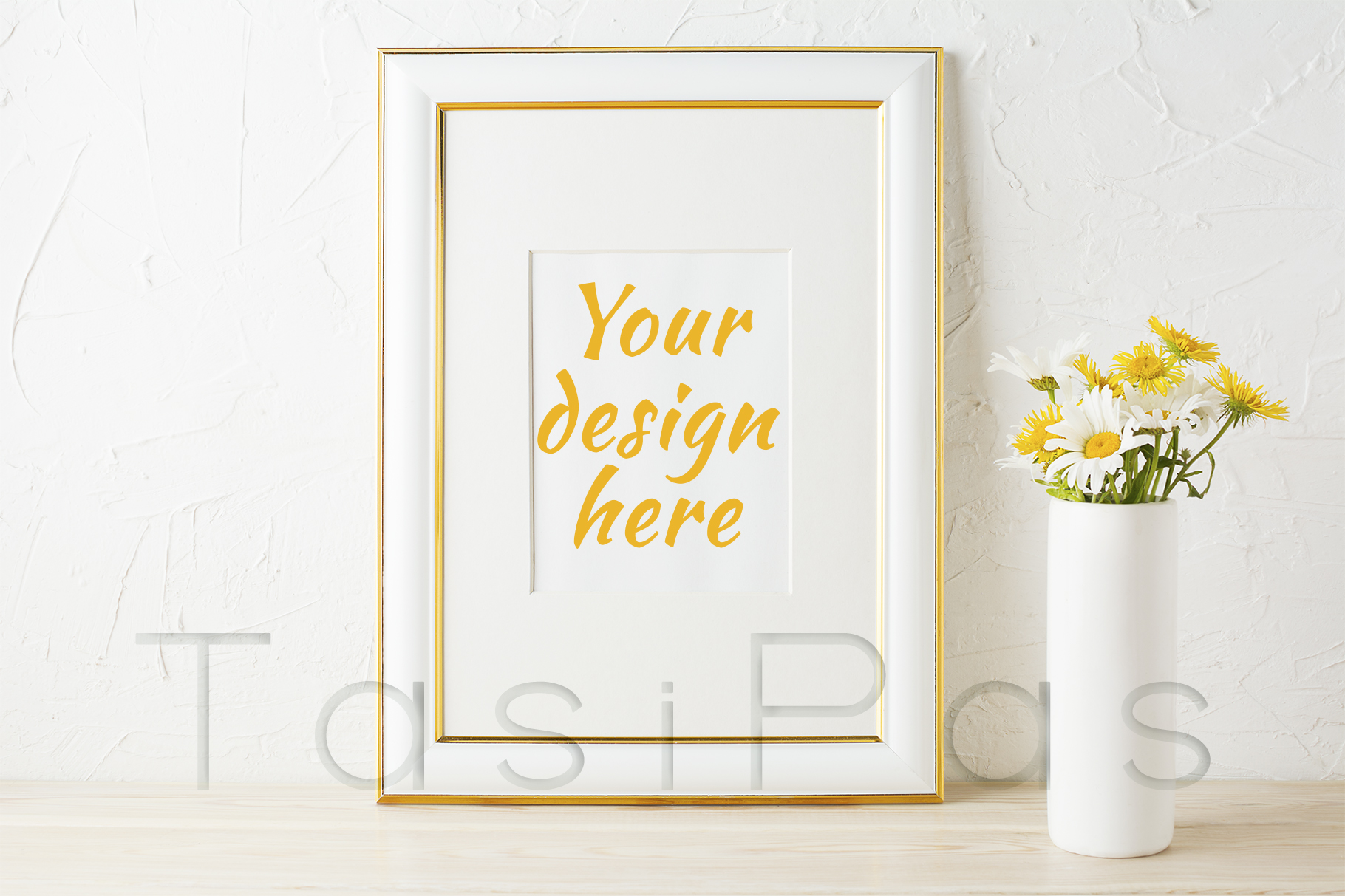 Print on Demand: Gold Decorated Frame Mockup with Yellow and White Daisy Graphic Product Mockups By TasiPas