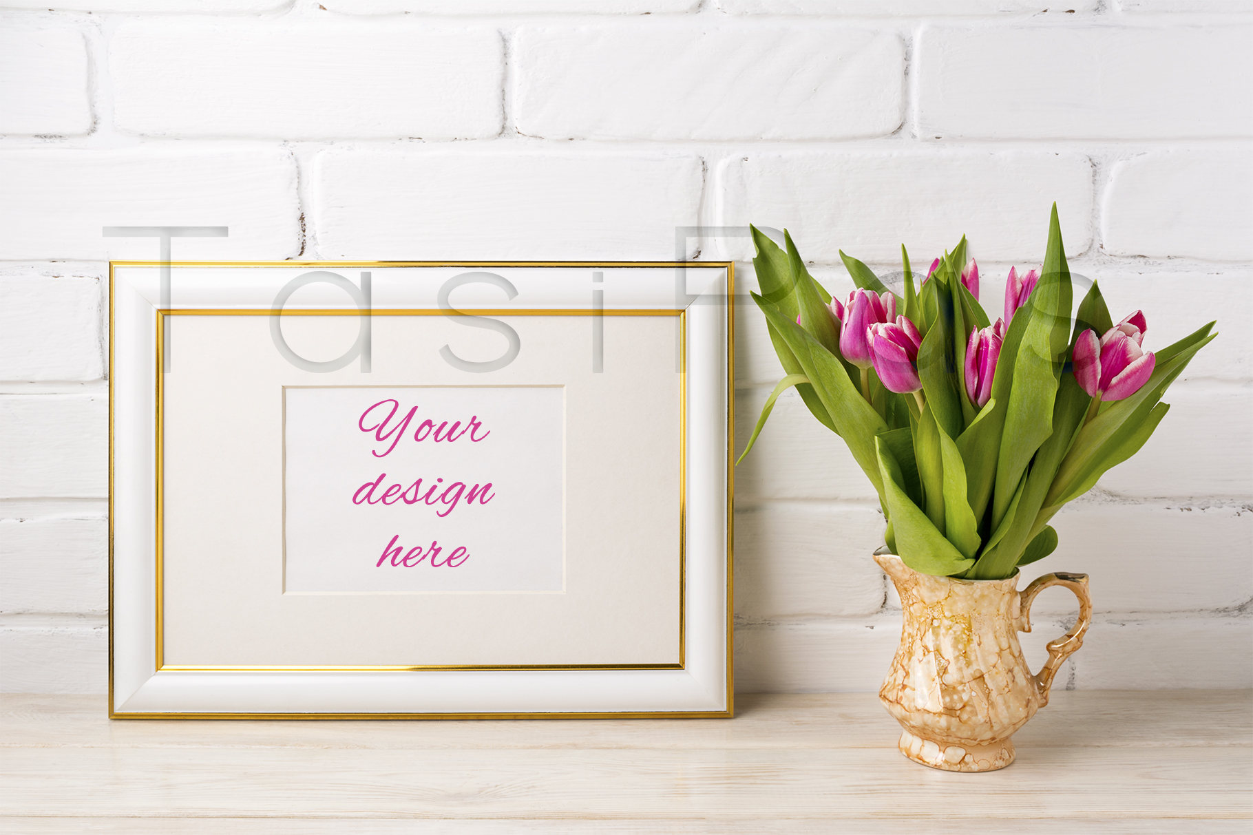 Print on Demand: Gold Decorated Landscape Frame Mockup with Bright Pink Tulips in Golden Vase Graphic Product Mockups By TasiPas