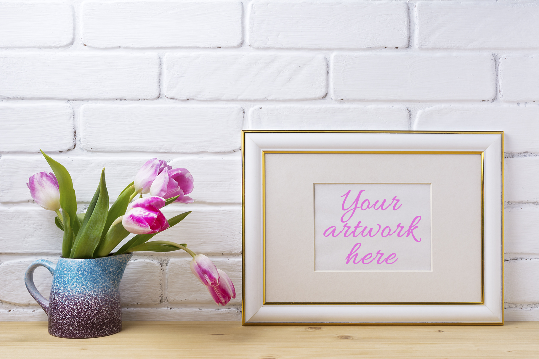 Print on Demand: Gold Decorated Landscape Frame Mockup with Magenta Tulips. Graphic Product Mockups By TasiPas