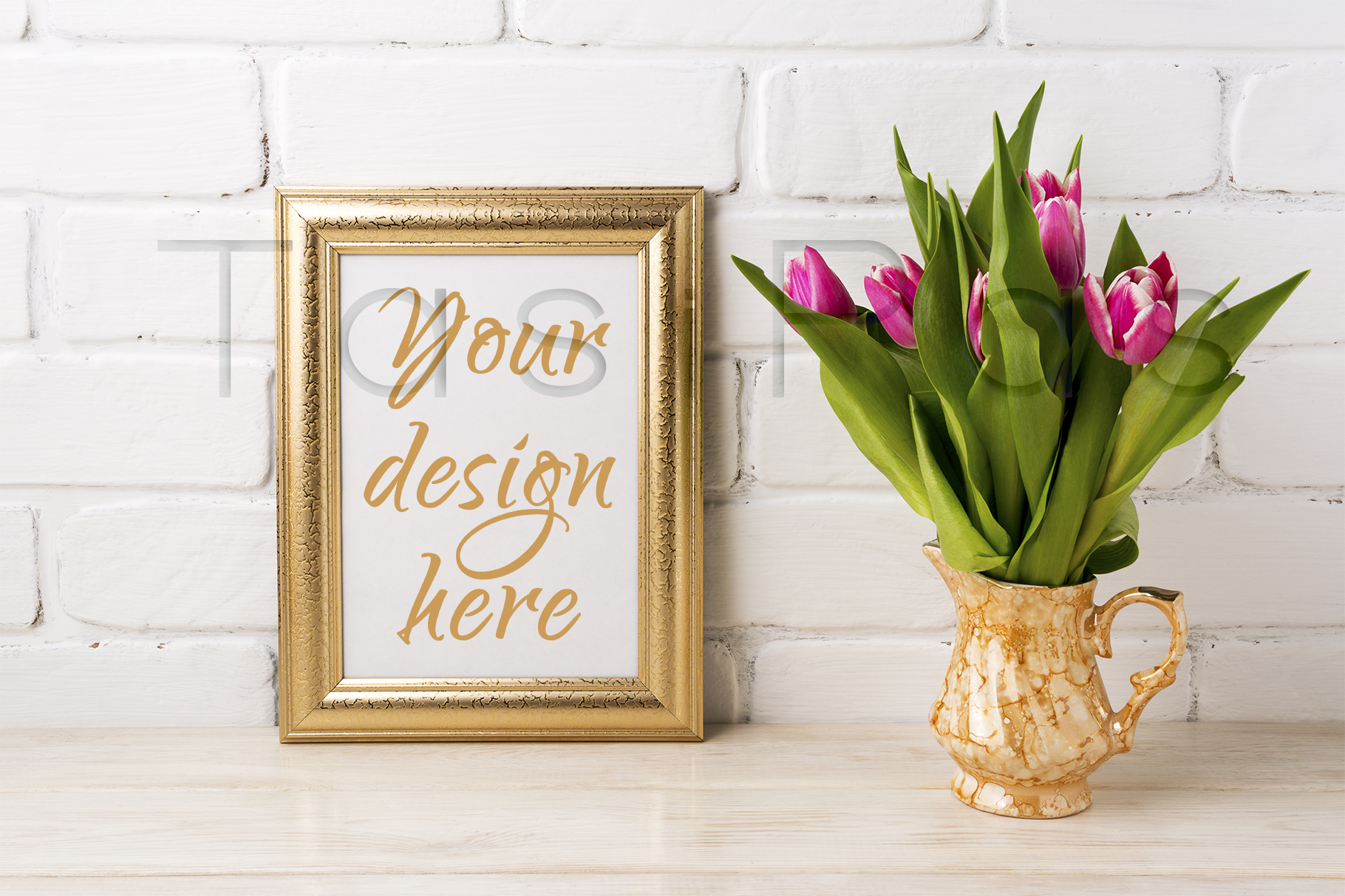 Download Free Golden Frame Mockup With Magenta Pink Tulips In Golden Vase for Cricut Explore, Silhouette and other cutting machines.