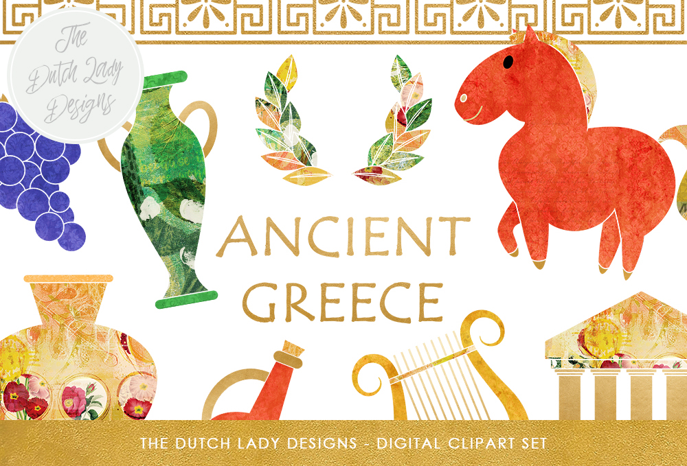 Print on Demand: Greek Archeology Clipart Set - Ancient Greece Graphics - Greek Artefact Images - Colorful & Artistic Graphic Illustrations By daphnepopuliers