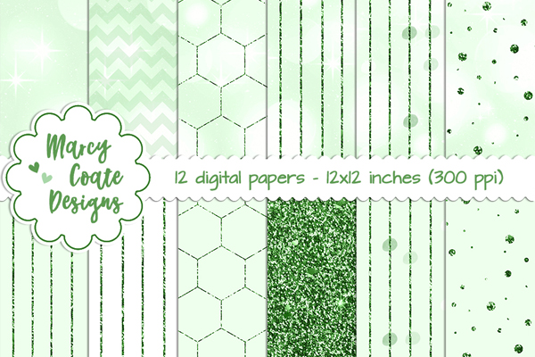 Green Bokeh & Glitter Patterns Graphic Backgrounds By MarcyCoateDesigns
