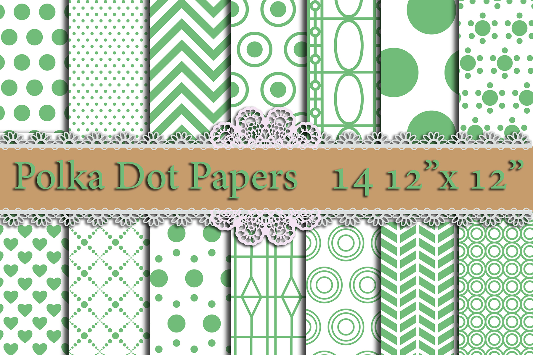 Green Polka Dot Digital Paper,POLKA DOT Pattern Printable Patterns Graphic Backgrounds By prettydesignstudio