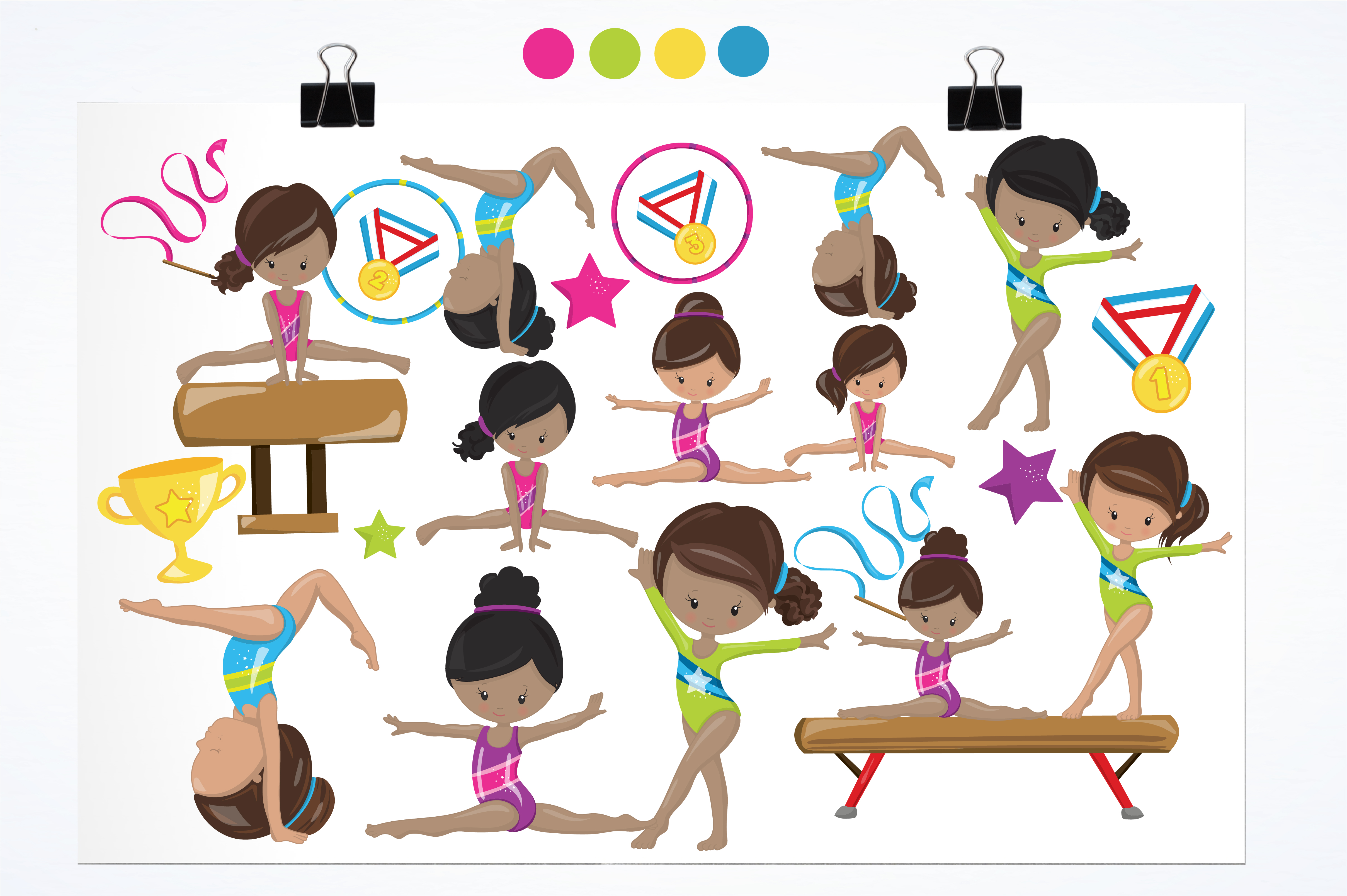 Download Free Gymnastic Girls Graphic By Prettygrafik Creative Fabrica for Cricut Explore, Silhouette and other cutting machines.