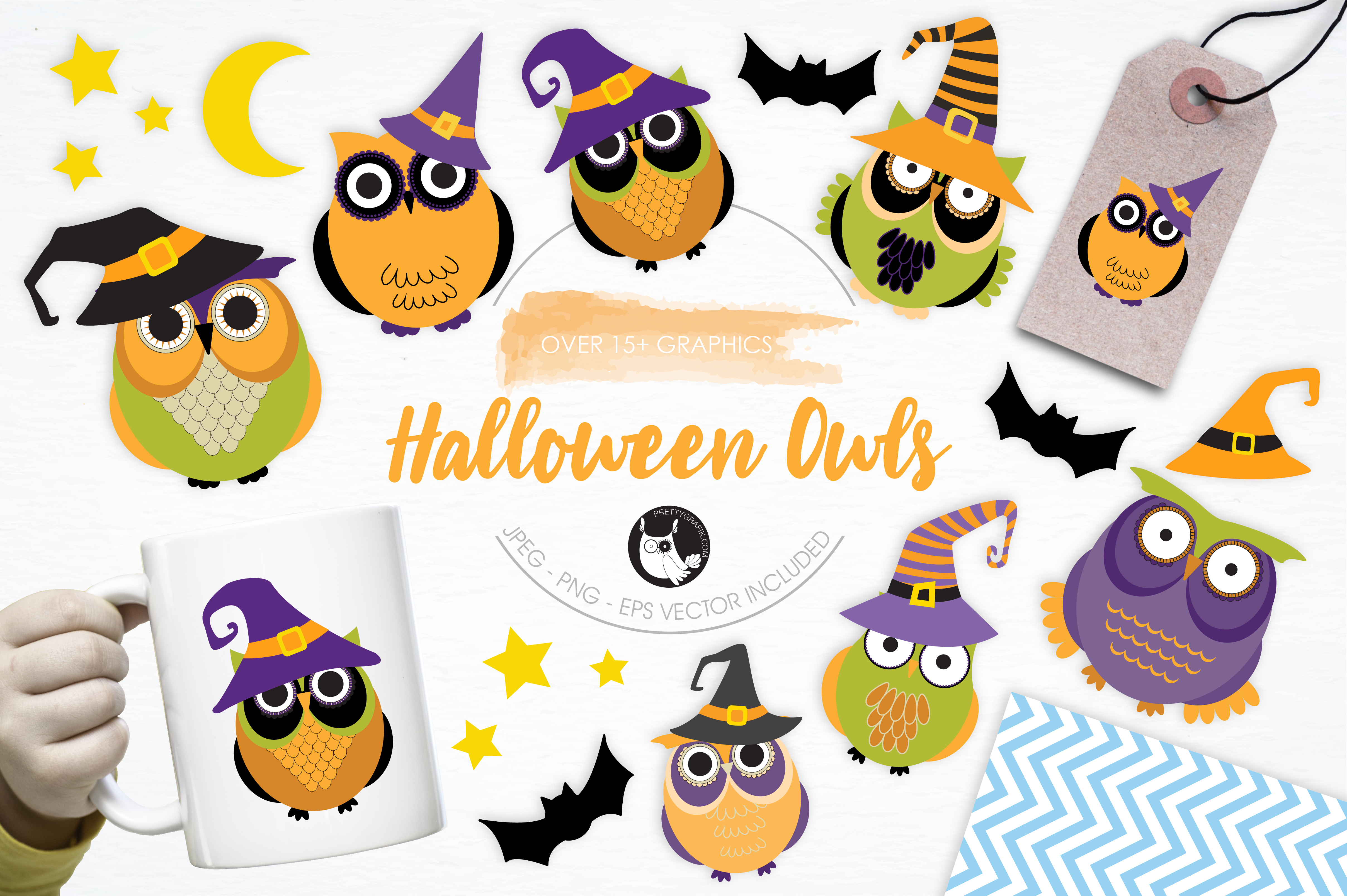 Download Free Halloween Owls Grafico Por Prettygrafik Creative Fabrica for Cricut Explore, Silhouette and other cutting machines.