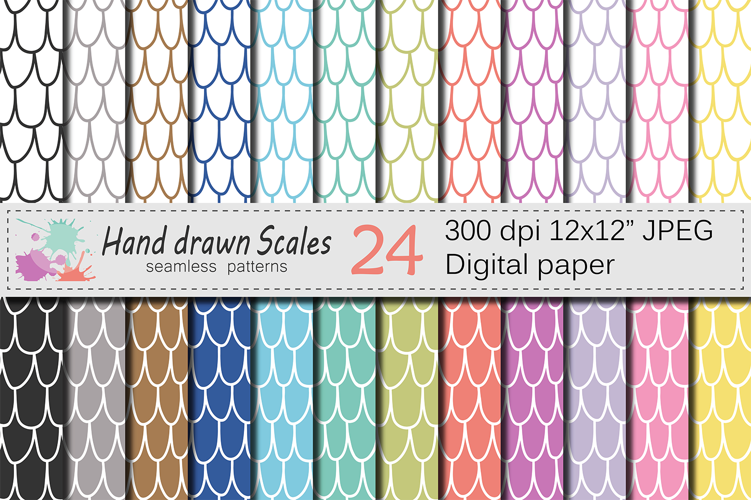 Hand Drawn Scales Seamless Digital Paper Graphic Patterns By VR Digital Design