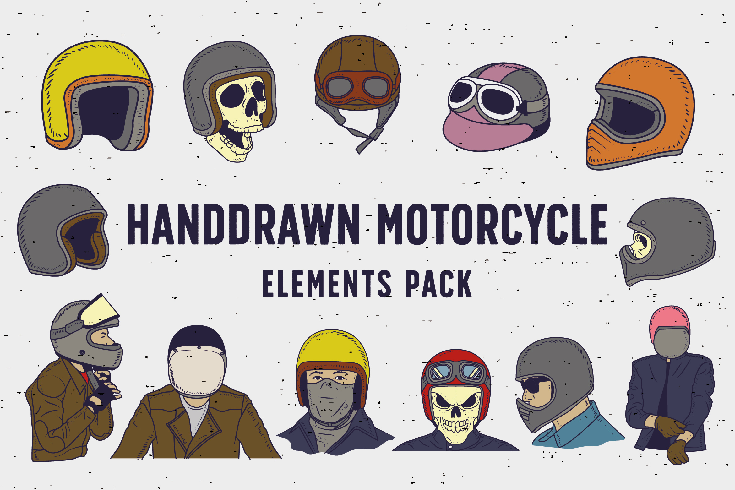 Handdrawn Motorcycle Elements Pack Graphic Illustrations By storictype