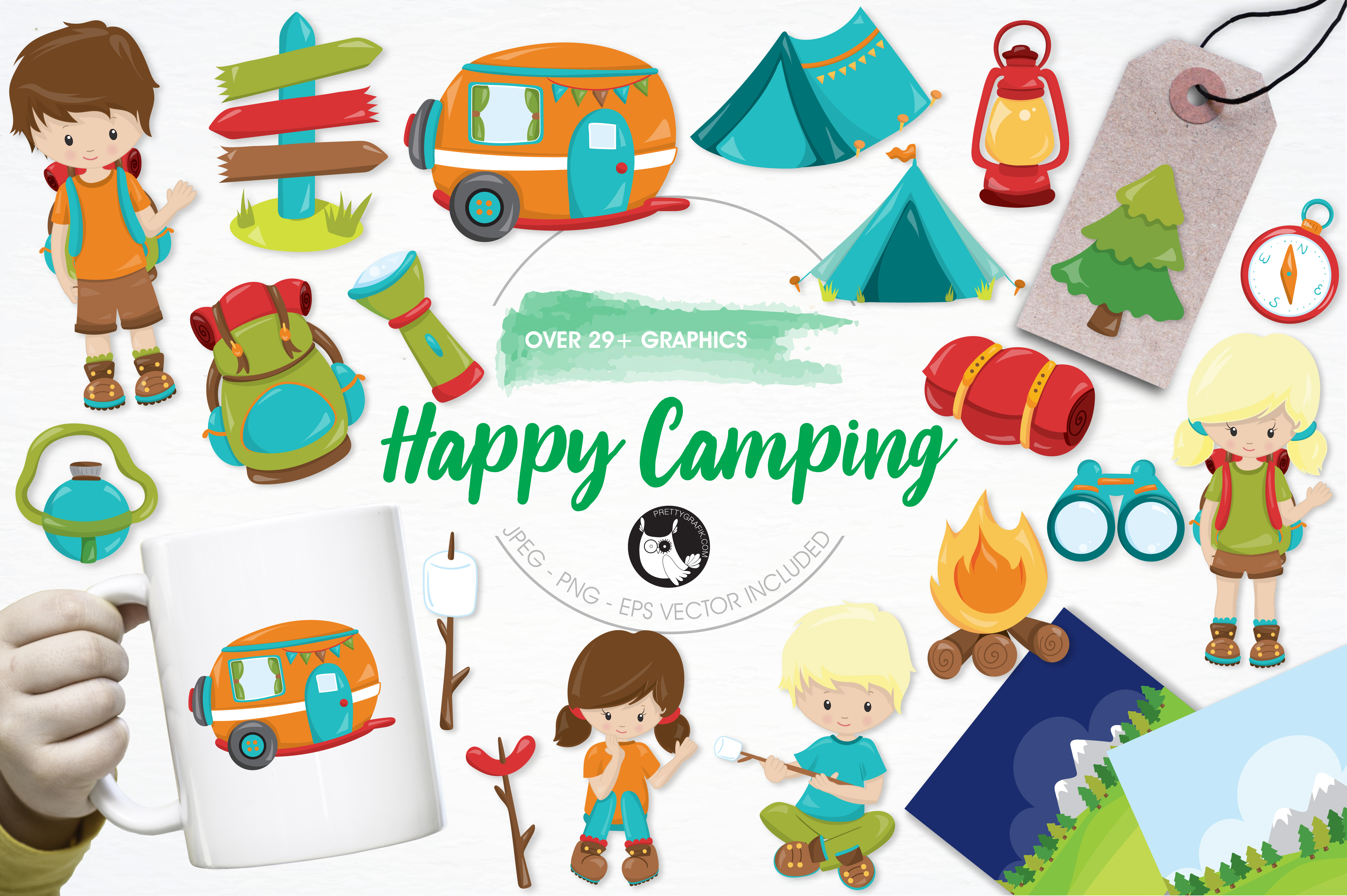 Print on Demand: Happy Camping Graphic Illustrations By Prettygrafik