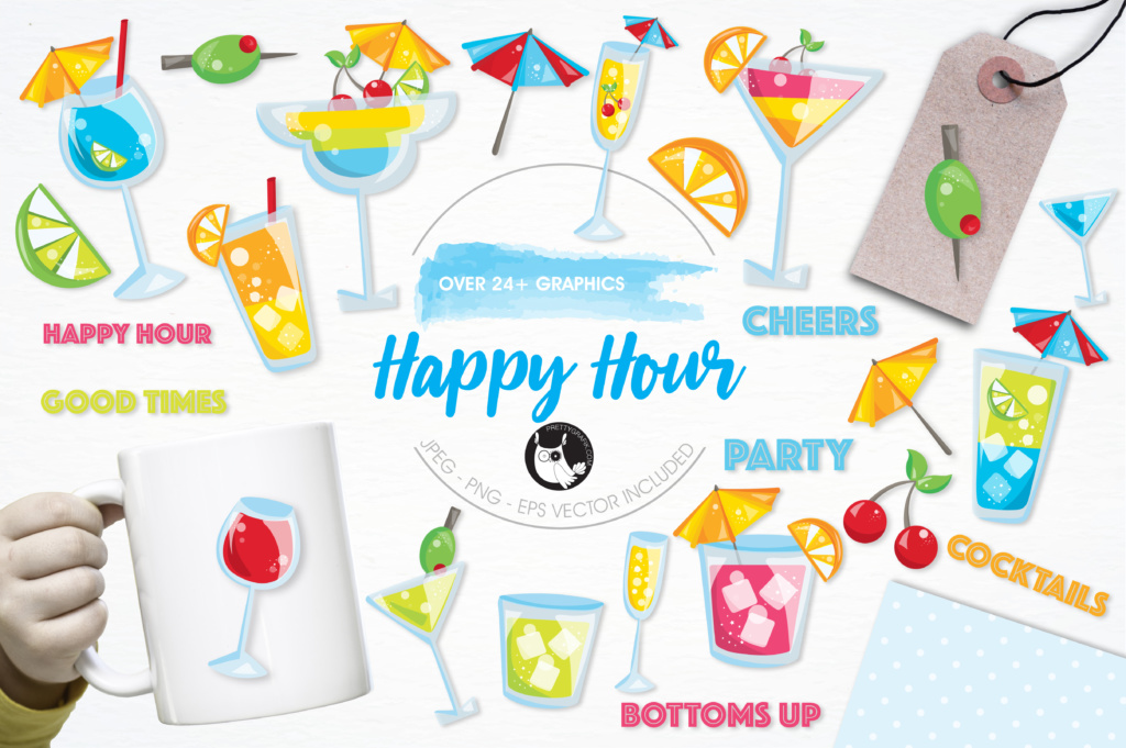 Download Free Happy Hour Graphic By Prettygrafik Creative Fabrica for Cricut Explore, Silhouette and other cutting machines.