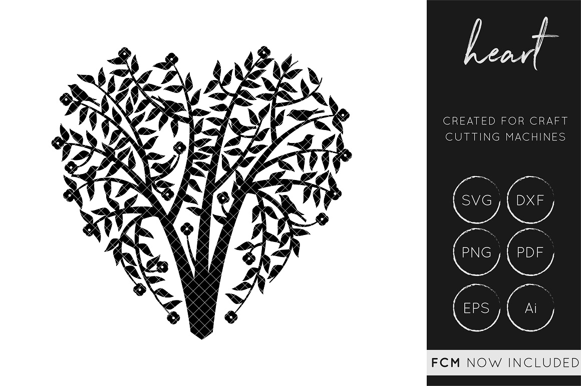 Download Free Heart Tree Cut File Graphic By Illuztrate Creative Fabrica for Cricut Explore, Silhouette and other cutting machines.
